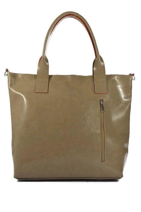 Klasyczna skórzana torebka khaki