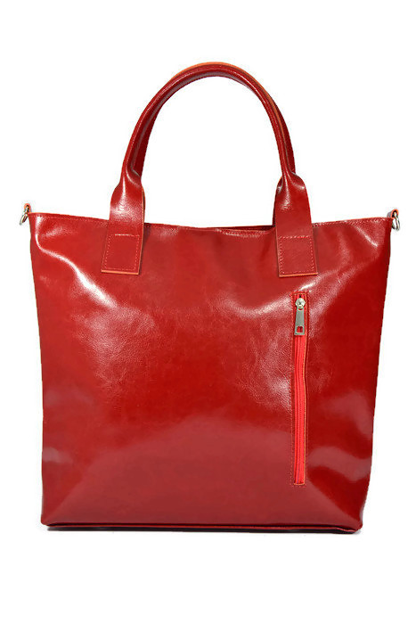 Czerwona skórzana klasyczna torebka
