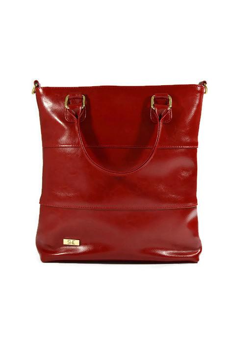 Skórzana czerwona klasyczna torebka SHE
