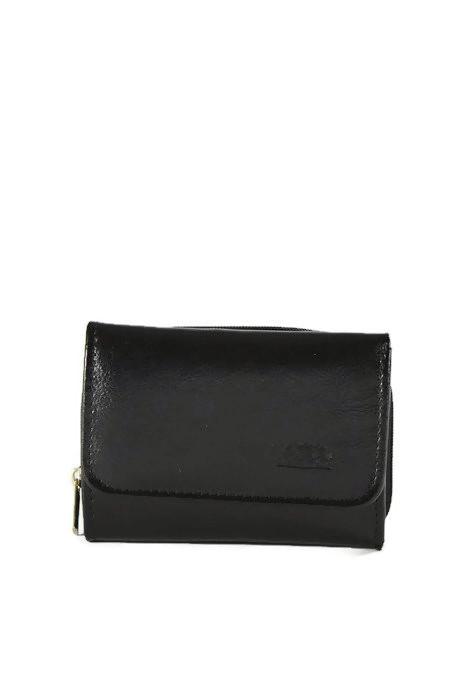 Mały skórzany czarny portfel