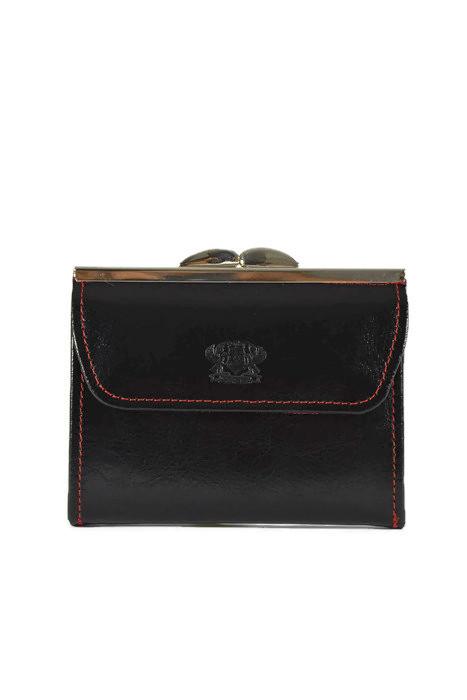Czarny damski skórzany portfel