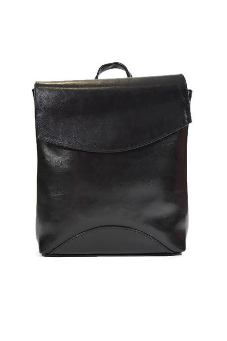 Klasyczny czarny skórzany plecak