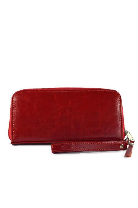 Damski skórzany czerwony portfel