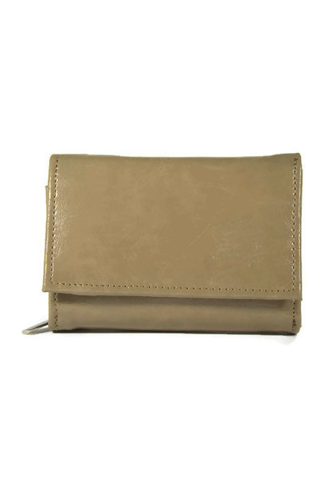 Skórzany damski beżowy portfel