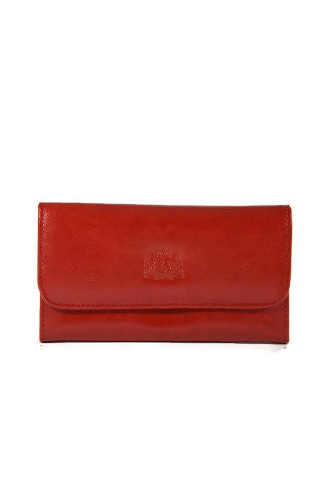 Czerwony skórzany portfel DAN-A
