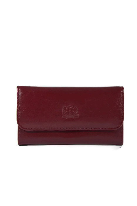 Damski bordowy portfel ze skóry