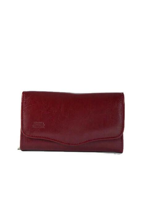 Klasyczny bordowy skórzany portfel