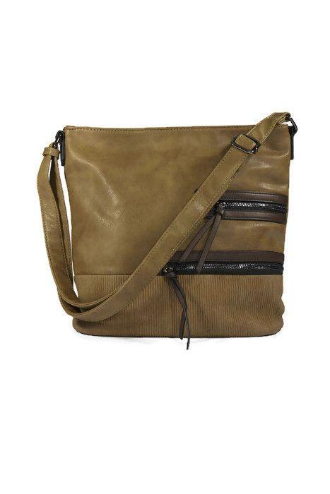 Klasyczna torebka listonoszka ekoskóra khaki