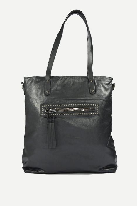 Czarna damska torebka shopperka