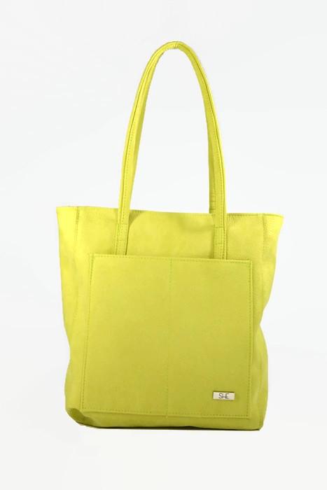 Limonkowa torebka shopperka ekoskóra