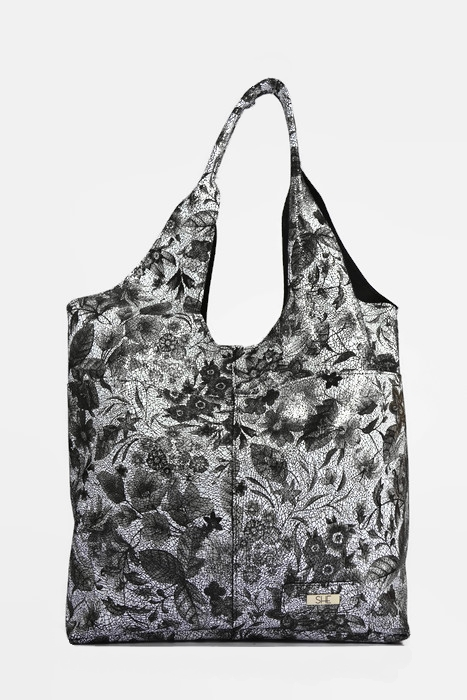 Skórzana czarna torebka shopperka