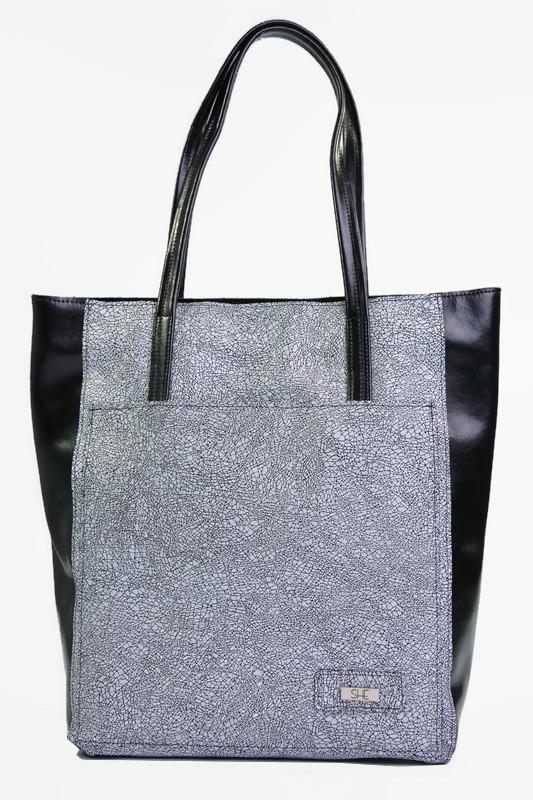 Skórzana czarna torba shopper