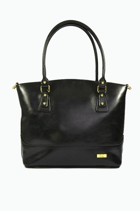 Czarna skórzana shopperka vintage DAN-A