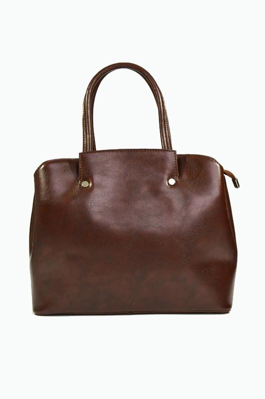 Brązowy skórzany kuferek dla kobiet