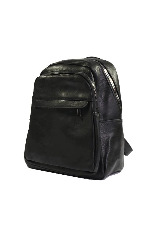 Czarny modny plecak z ekoskóry