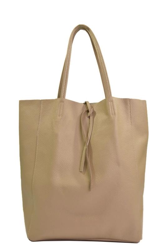 Skórzana beżowa torebka shopperka