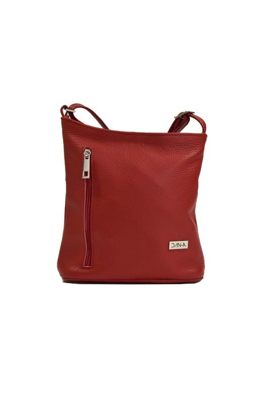 Skórzana torebka listonoszka czerwona