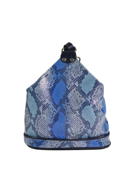 Skórzany plecak skóra węża niebieski