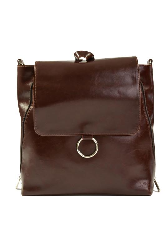 Ciemnobrązowy plecak skórzany vintage