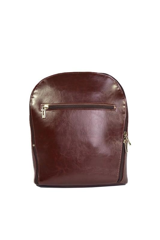Klasyczny ciemnobrązowy skórzany plecak