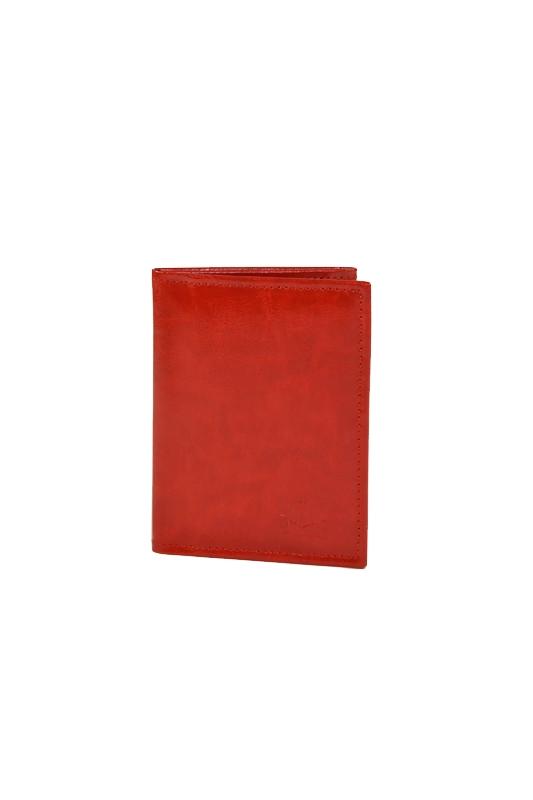 Skórzany cienki portfel czerwony RFID