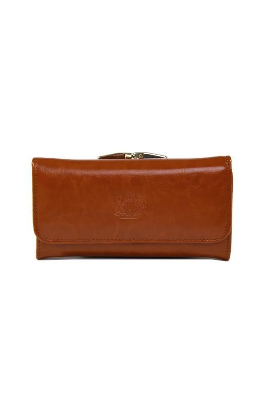 Brązowy damski skórzany portfel DAN-A