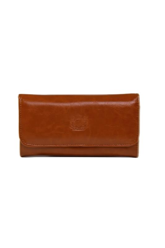 Brązowy damski portfel ze skóry