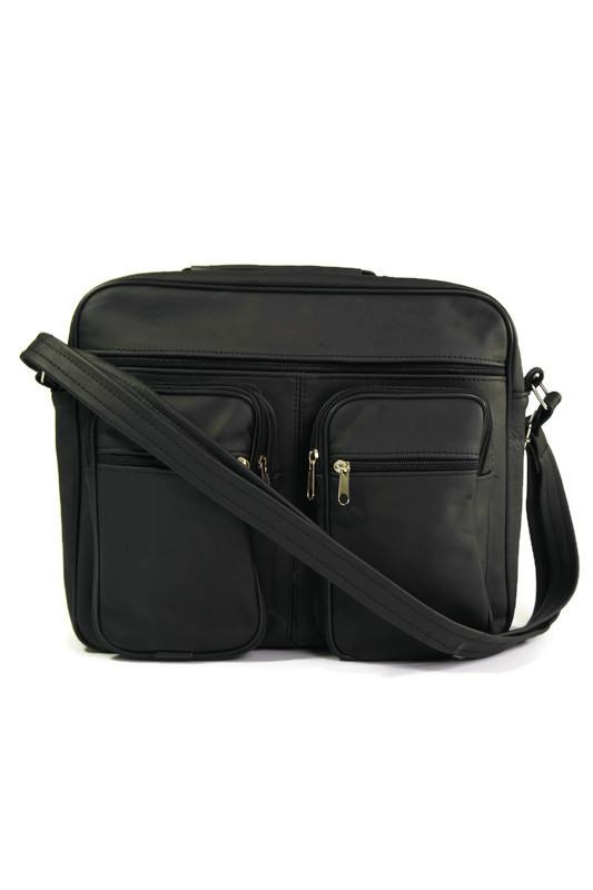 Czarna skórzana męska torba laptopówka