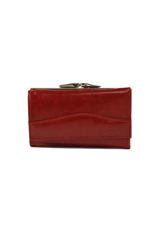 Damski skórzany portfel czerwony DAN-A