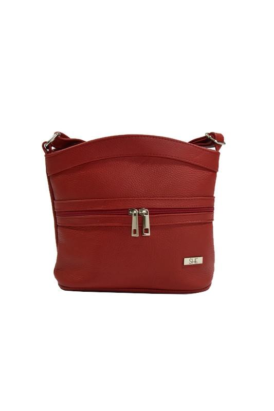 Czerwony torebka listonoszka ze skóry