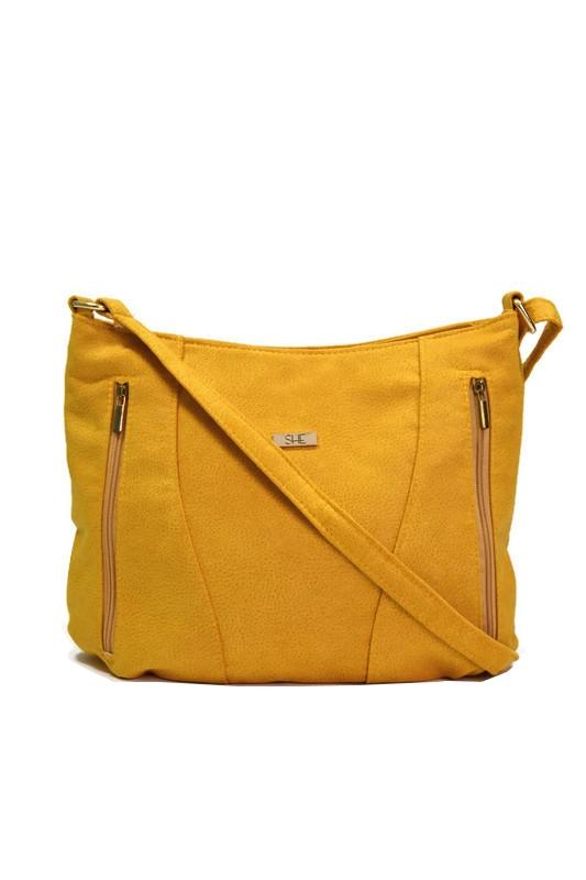 Żółta torebka worek ekoskóra