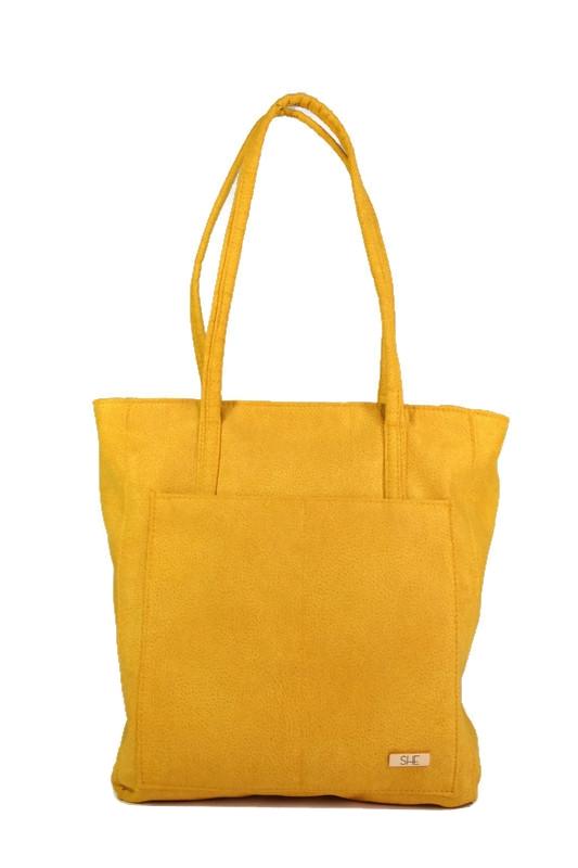Żółta torebka shopperka ekoskóra