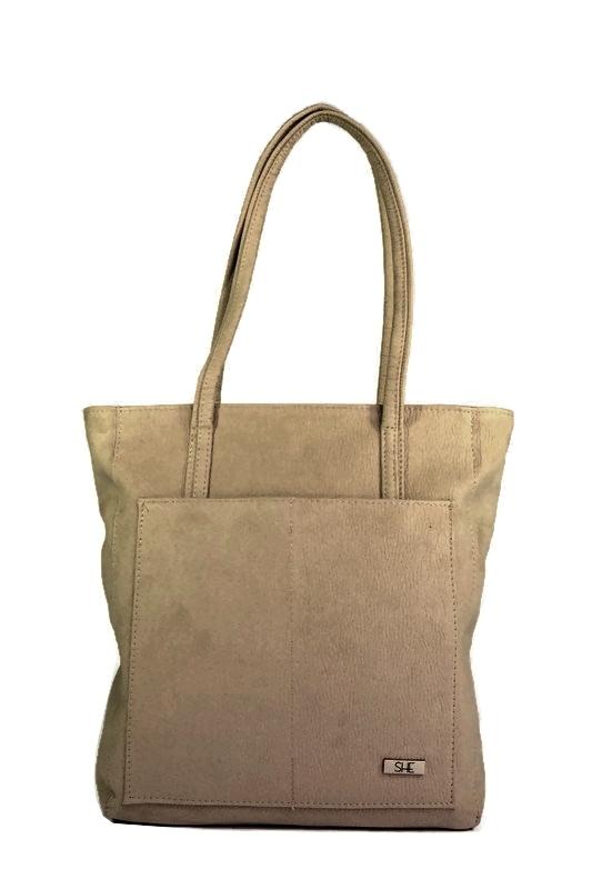 Beżowa torebka shopperka ekoskóra