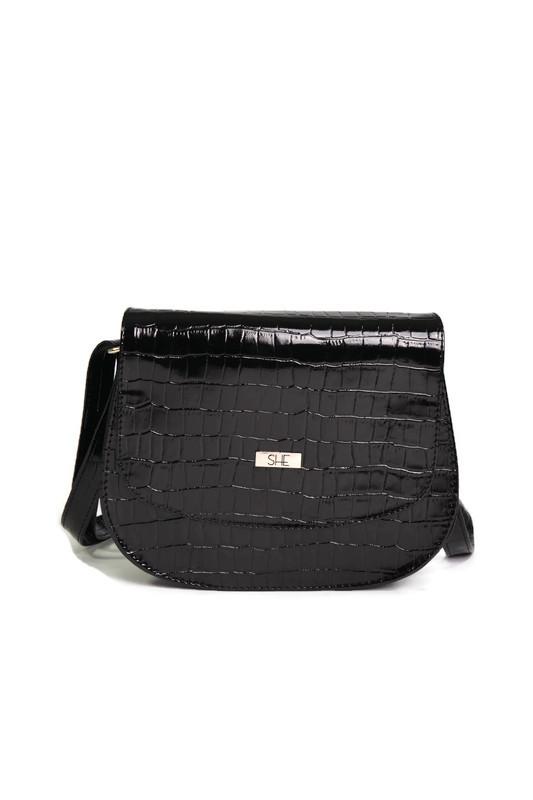 Czarna torebka listonoszka motyw krokodyla