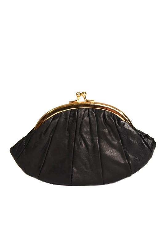 Czarny mały skórzany portfel
