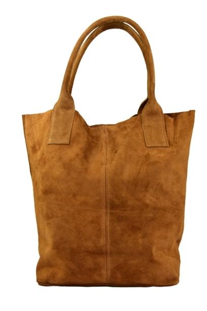 Brązowa torebka shopperka ze skóry