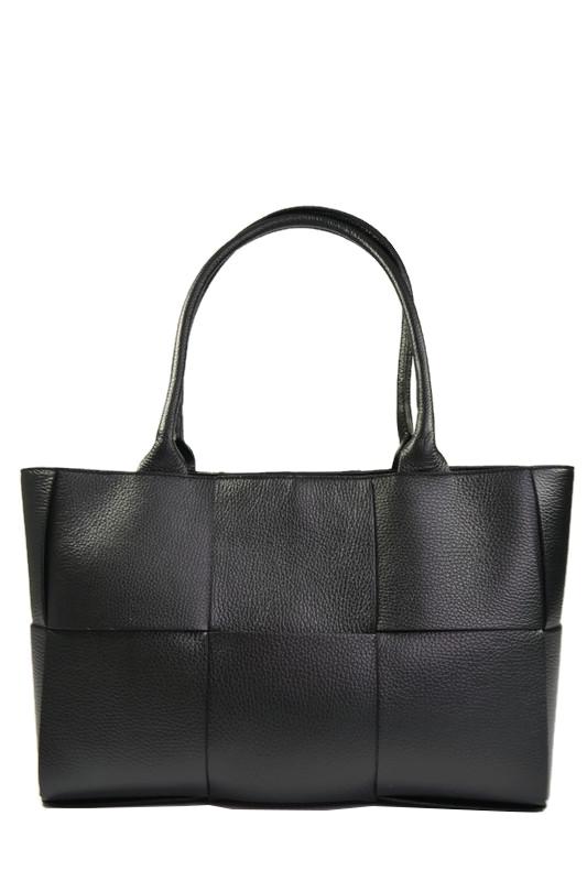 Skórzana czarna przeplatana torebka
