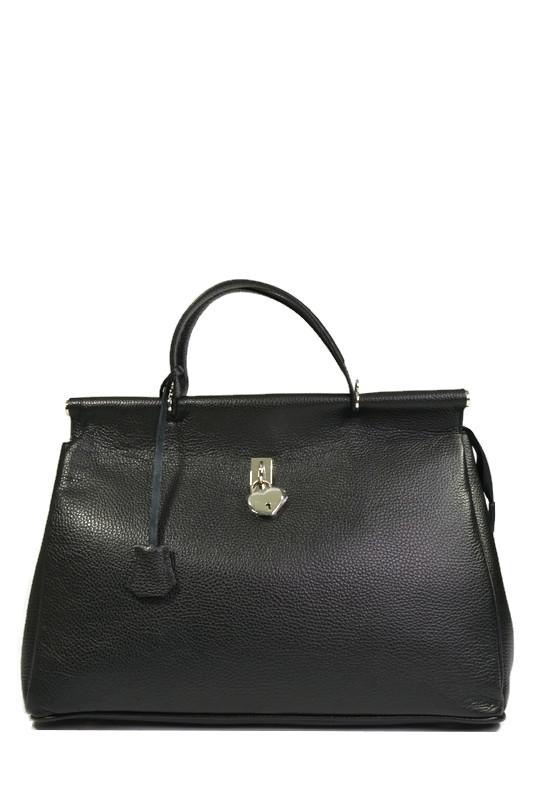 Czarny skórzany włoski elegancki kuferek