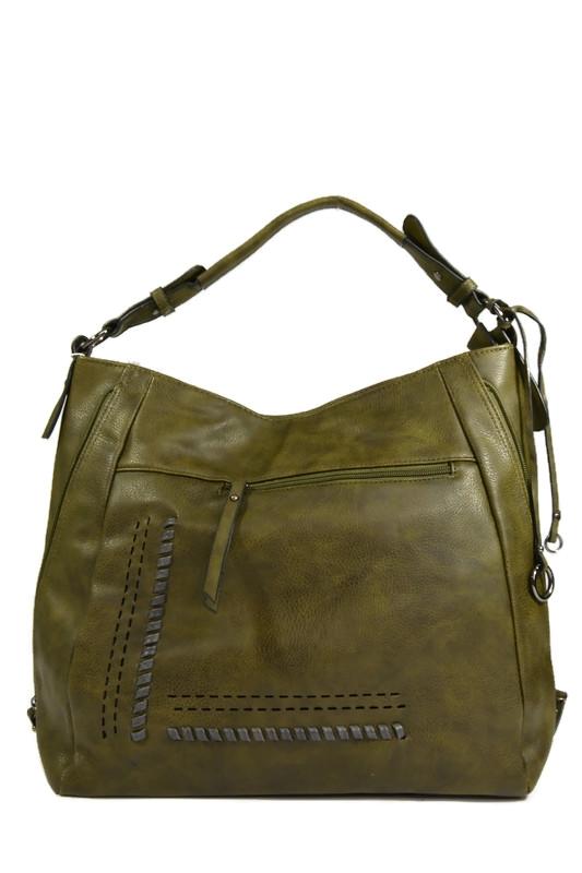 Duża zielona włoska torebka worek