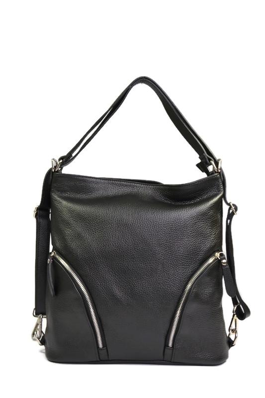 Torbo plecak czarny ze skóry naturalnej