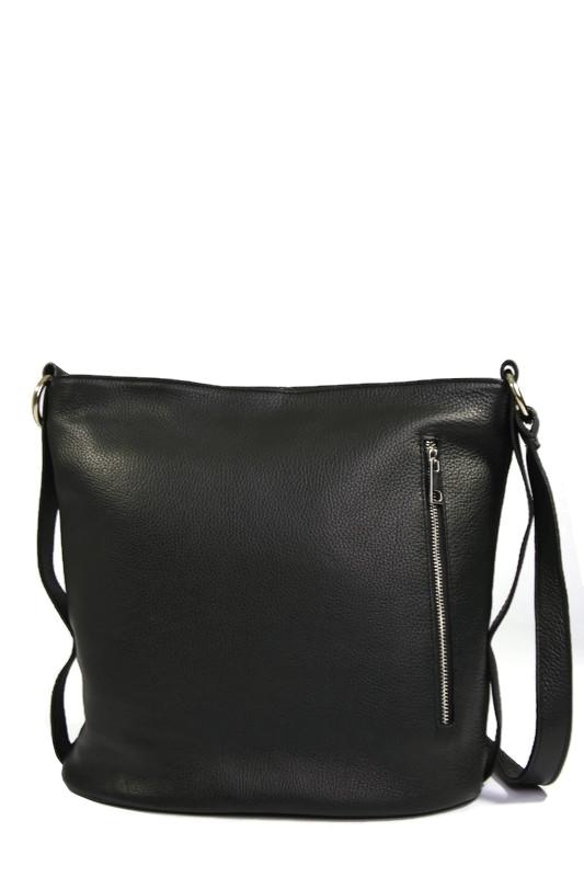 Skórzana czarna torebka typu worek