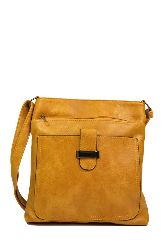 Żółta torebka listonoszka z ekoskóry