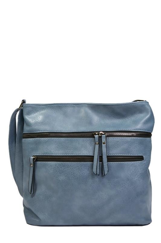 Niebieska torebka listonoszka z ekoskóry