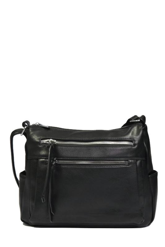Czarna włoska torebka listonoszka z ekoskóry