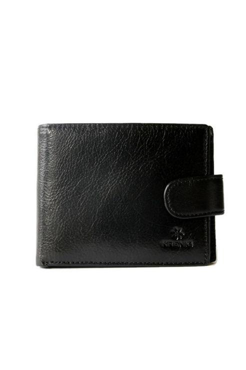 Skórzane czarne etui portfel na karty Krenig
