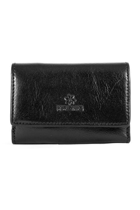 Skórzane mały damski czarny portfel Krenig