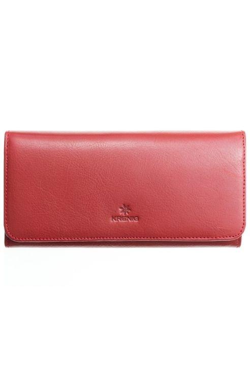 Czerwony skórzany damski portfel Krenig
