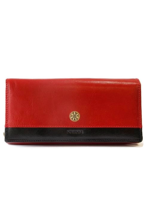 Czerwony damski skórzany portfel Krenig