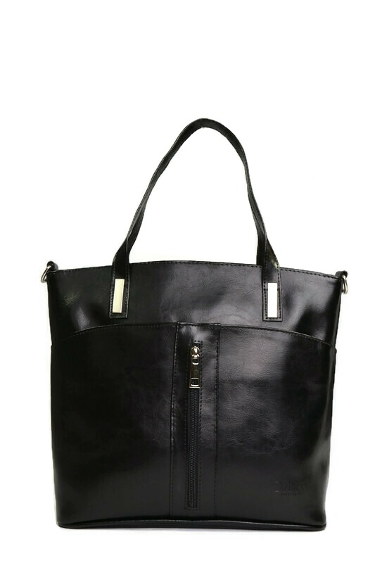 Czarna skórzana klasyczna torebka