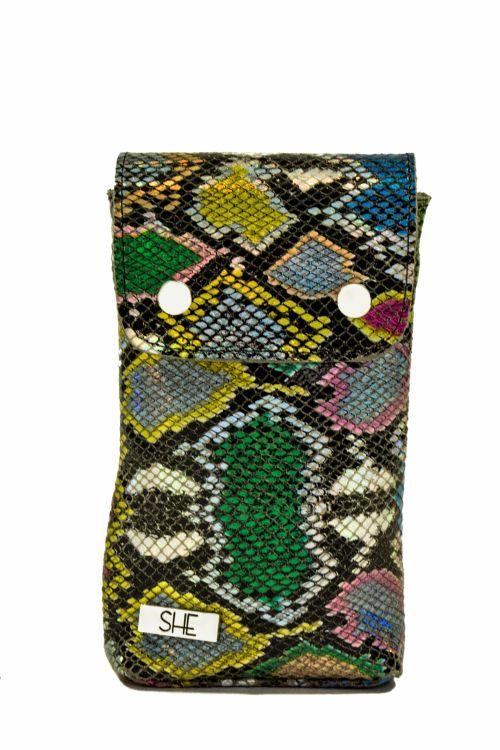 Skórzana kolorowa mini torebka na telefon